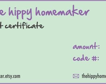 E-Gift Certificate 25 Dollars - The Hippy Homemaker's Handcrafted Shoppe