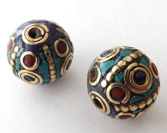 BIG Round pendants -18mm Nepal Beads with Brass & Coral,Turquoise Inlaid