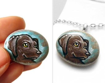 Pet Portrait Stone, Dog Necklace, Chocolate Labrador Retriever, Pebble Pendant, Pet Loss Gift, Memorial Jewelry, Rock Art, Animal Painting