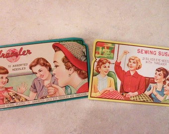 Vintage Assorted Needles with Threader Sets - Sewing Susan and Traveler Brands from 1950's - Gold Eye Needles and Silver Eye Needles
