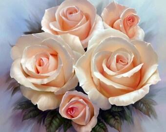Cross Stitch Rose, Floral Cross Stitch, Cross Stitch Flower, Cross Stitch Pattern, Counted Cross Stitch, Needlepoint Pattern, Printable PDF