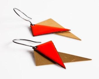 Grace Earrings - Enamel and Brass Triangles, Geometric, Kites