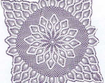 7277 TV Doily crochet PATTERN 24X24 doily 24x48 scarf 96x96 Spread PDF instant Download