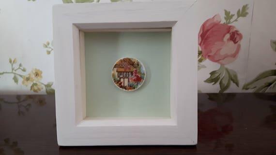 Vintage porcelain framed art. Country cottage.   Broken china. Floral china. Floral porcelain. Box frames.  7.5cm. Handmade in Wales UK