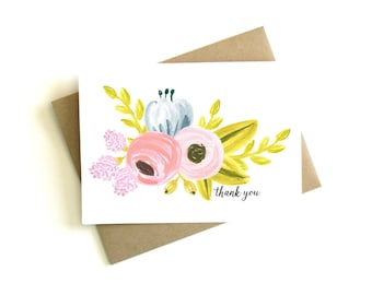 Floral Thank You Cards (Set of 5) - Wedding Thank You Cards, Thank You Notes, Wedding, Floral, Flowers, Thank You Card Set