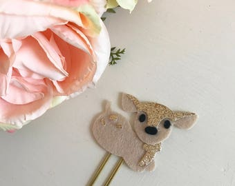 Deer fawn paperclips felt stationary planner animal