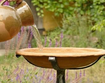 Garden Bird Bath, Ceramic Bird Bath, Cast Iron Birdbath, Clay Pot and Cast Iron Rack, Tall Standing Bird Feeder Mom Gifts