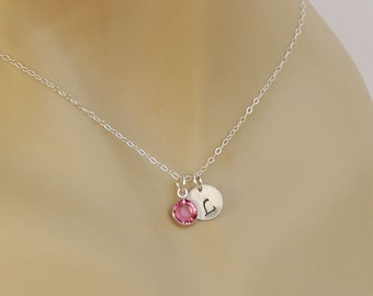 Personalized Girl Birthstone Necklace, Flower Girl Necklace, Initial Charm in Sterling Silver with Birthstone Charm, Birthday Girl Gift