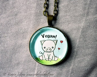 "Vegan Piggy Pig 1"" Pendant Necklace - or 2 for 20 - ReLove Plan.et"