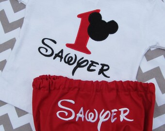 Personalized Mickey Mouse Shirt and Diaper Cover set-  Mickey Mouse Shirt- Mickey Mouse Birthday Set-