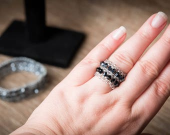 black and silver beaded ring