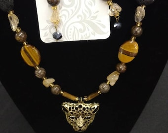 Necklace and earring set natural Stone Goldtone.
