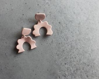 Pink matted porcelain dangle earrings