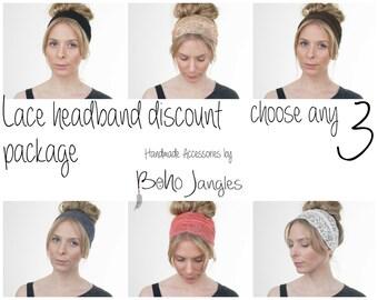 Lace Headband Discount Package You Choose any 3, Yoga Headband, Workout Hairband, Boho Turban, Stretchy Headband, Boho Fashion