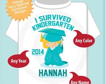 Personalized I Survived Kindergarten Shirt Kindergarten Graduate Shirt Child's Back To School Shirt 04102014h