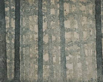 Woodblock Print - Forest No. 16 Moku Hanga Fine Art Print Limited Edition Landscape Reduction Print