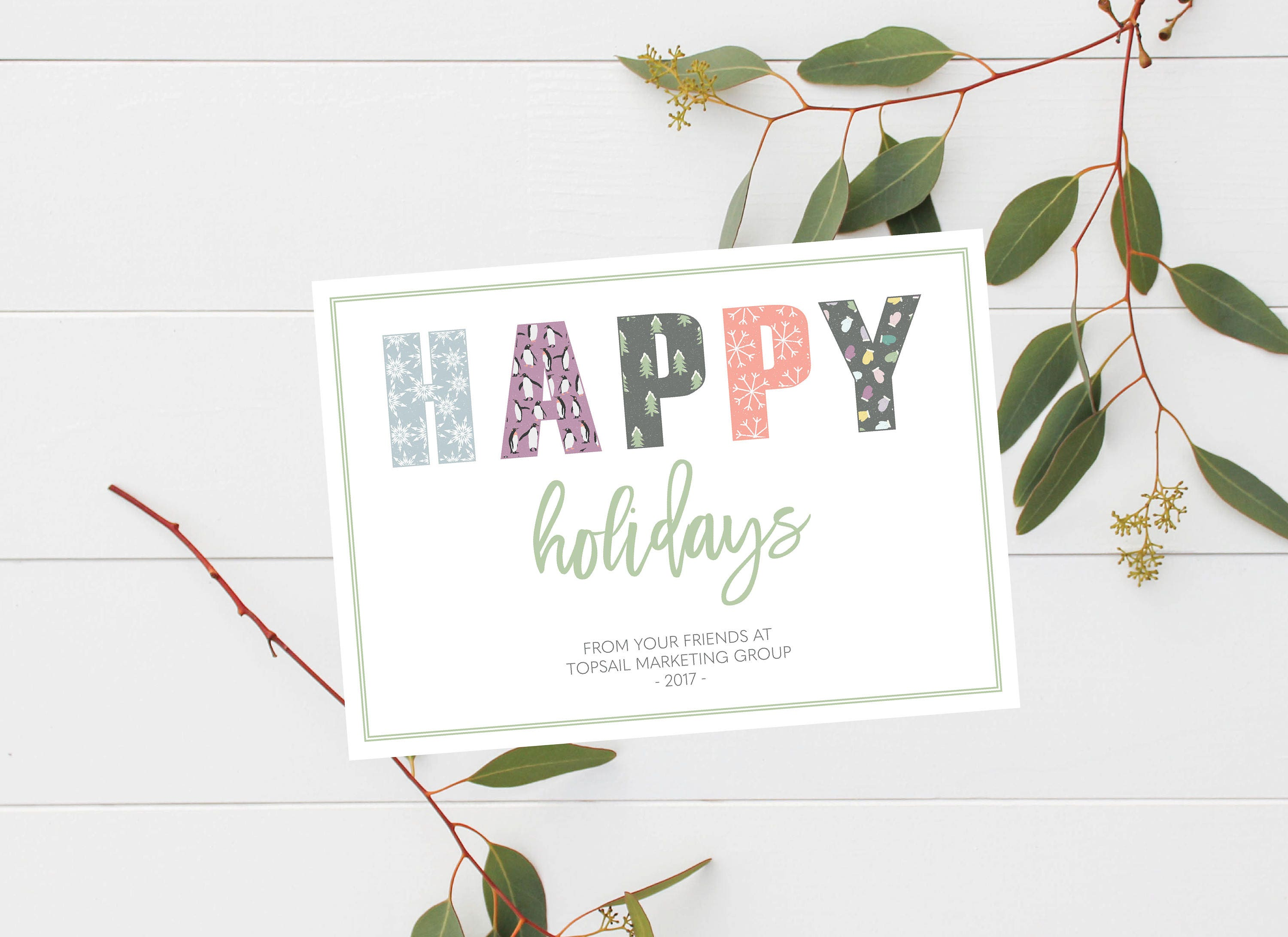 Business Happy Holidays Card Winter Client Thank You Card
