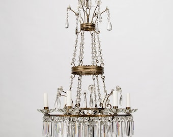 French Twelve-Light Empire Style Crystal Chandelier [8382]