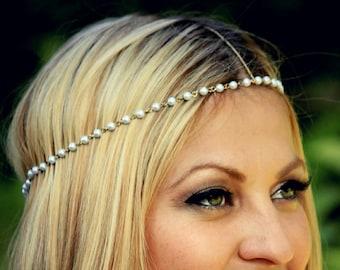 CHAIN HEADPIECE- pearl and gold chain headdress head piece / boho chic