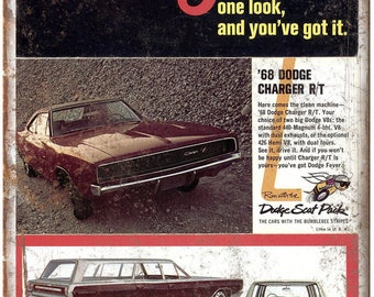 """1968 Dodge Station Wagon Charger R/T Ad 10"""" x 7"""" Reproduction Metal Sign A226"""