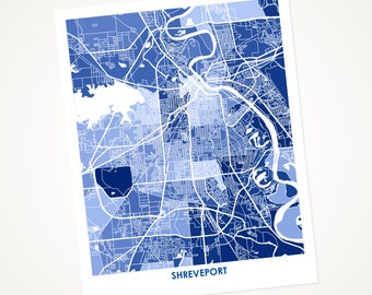 Shreveport Map Print.  Choose the Colors and Size.  Louisiana Art Housewarming Gift.