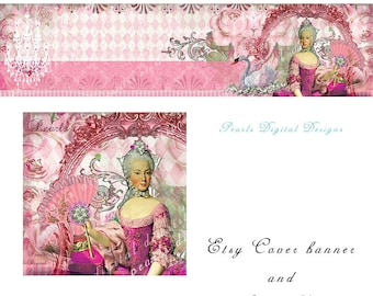 Etsy Cover banner and Shop Icon, Marie Bubble Gum Pink, instant download, blank files, Marie Antoinette, vintage, collage banner, fan, lady