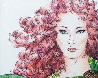 HAWKMISTRESS - Celtic maiden and hawk - original Ink and Prismacolor - matted & framed under glass