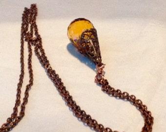 SALE Copper Chain Honey Quartz Gemstone Wire Wrapped