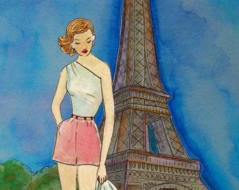 Jadore Vintage Paris II- Watercolour Painting Print