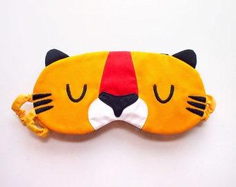 Tabby Tiger Sleep Mask Cute Animal Sleeping Eye Mask Yellow Cotton Eyemask Cosplay Halloween Kitsch Mask Travel Flight Eye Cover Accessories