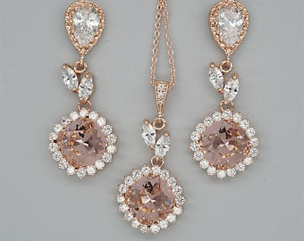 Blush Bridesmaid Jewelry Set Blush PInk Wedding Necklace and Earrings Sets Peach Crystal Earrings Champagne Bridal Necklace Rose Gold