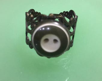 Vintage Button Accent Ring Adjustable and Nickel Free
