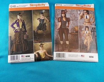 Steampunk Women's Costume Patterns Simplicity 8114 and 1248
