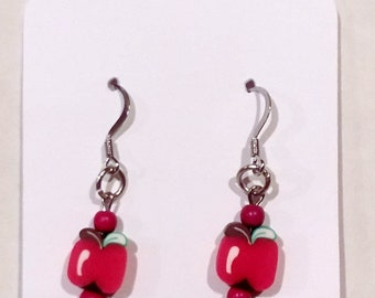 Apple Drop French Hook Earrings Hypoallergenic