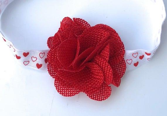 Valentine's Headband, Red Headband, Baby Headband, Flower Headband, Baby Headband Baby, Infant Headbands, Newborn Headband, Baby Headbands
