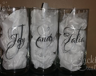 Personalized Tall Candle Holder