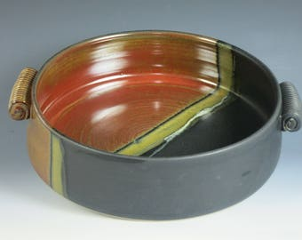 2 quart casserole,ceramic bakingdish,serving bowl,baking dish,open casserole,ceramic casserole,oven baking dish, pottery,,handmade
