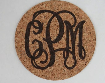 Personalized Cork Monogram Coaster - 4 Pack