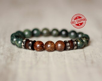 brown bracelet green bracelet for men accessory for everyday jewelry for men birthday gift for him gem bracelet stone jewelry for him