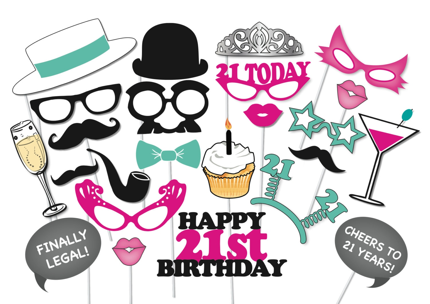 21st Birthday Photobooth Party Props Set 26 Piece PRINTABLE