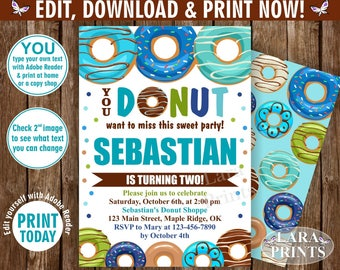 INSTANT DOWNLOAD / edit yourself now / Birthday / invite/ Invitation / Donut / Party / doughnut / boy / blue / teal / green / brown /BDonut2