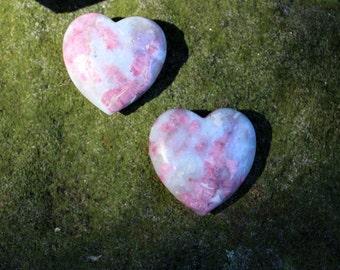 FREE SHIPPING Pink tourmaline in quartz crystal heart