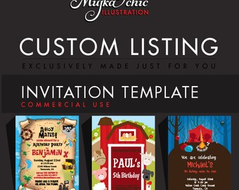 Custom Commercial Use Invitation Template Design, Custom Greeting Card Single. EXCLUSIVELY made for YOU!