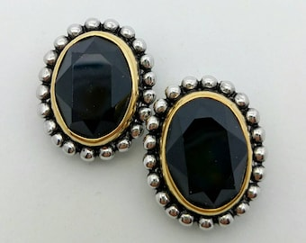 Vintage Black Crystal Clip On Earrings with Silver and Gold Edge Formal Clip Ons