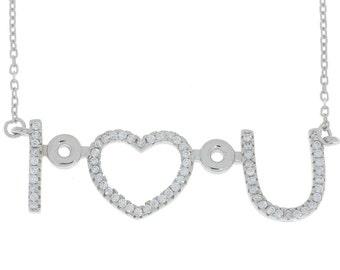 I Heart U Design CZ Pendant .925 Sterling Silver