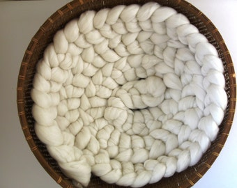 10' Natural White Wool Photo Prop for Newborn Infant Baby Roving Braid Photography