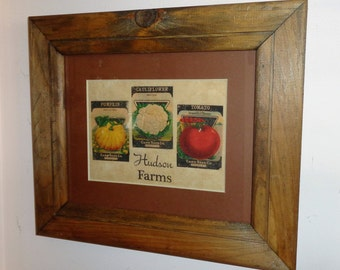 Wall Art Seed Packets Vintage Wood Frame Country Kitchen Art