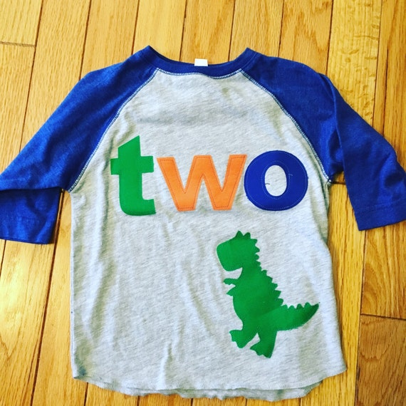 TWO t rex birthday raglan t shirt, boys dino birthday shirt, 2nd birthday dinosaur shirt, raglan style shirt orange, green, royal blue