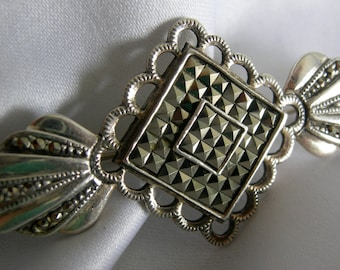 Marcasite Brooch | 925 Silver Marcasite Art Deco Victorian Style Brooch Pin |  Marked 925 TH KO |  Vintage