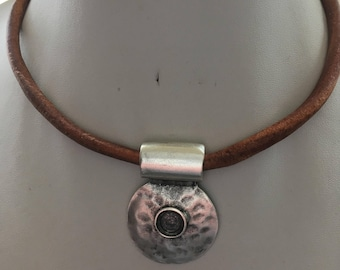 6mm Distressed Brown Leather Choker Necklace with Chunky Aztec Hammered Silver Round Pendant and Magnetic Clasp